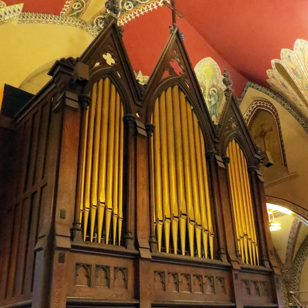 The beautiful organ in the loft has been restored and can be played at event center gatherings.