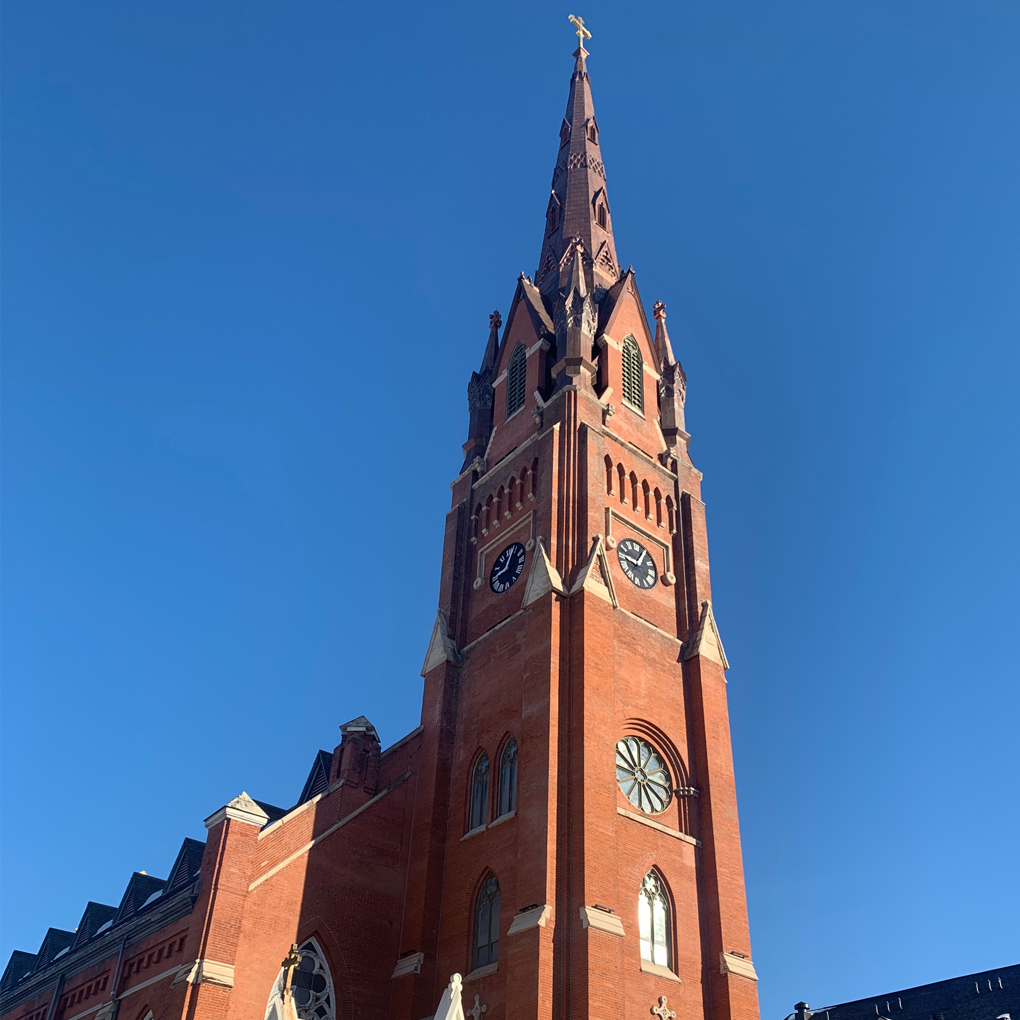 The steeple at Steeple Square is the tallest structure in the area.  It was built by German Catholics in 1867 as a symbol of rising up against adversity.