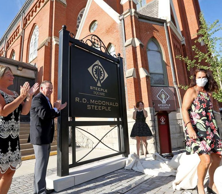 Steeple at Steeple Square Named for Devout Donor